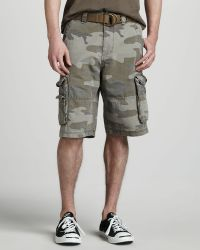 7d0f3b2d58 W.r.k. - Ripstop Belted Cargo Shorts Camo - Lyst