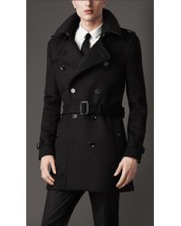 Burberry Mid-Length Virgin Wool Cashmere Trench Coat - Lyst