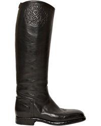 Alberto Fasciani 30Mm Embossed Buffalo Leather Boots - Lyst