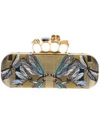 Alexander McQueen Dragonfly Embroidered Box Clutch - Lyst