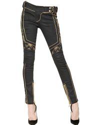 Balmain Lurex Embroidered Cotton Denim Jeans - Lyst