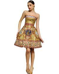 Dolce & Gabbana Embroidered Strapless Dress - Lyst