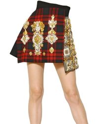 Fausto Puglisi Embroidered Wool Tartan and Silk Skirt red - Lyst