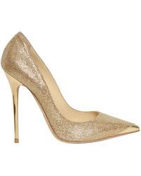 Jimmy Choo Anouk Glitter Calf Pointed Pumps gold - Lyst