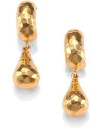 Mija - Hammered Pear Charm Mini Hoop Earrings - Lyst
