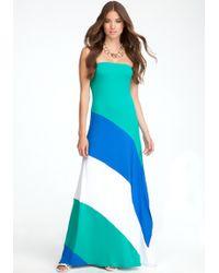 Bebe Colorblock Strapless Maxi Dress - Lyst