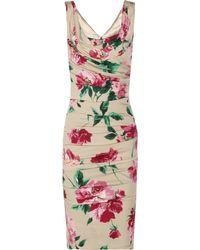 Dolce & Gabbana Floralprint Stretchsilk Dress - Lyst