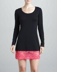 Josie Essential Lacetrim Sleep Shirt Blackred - Lyst