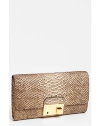 Michael Kors Gia Python Embossed Clutch - Lyst