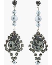 Tom Binns - Black Diamond Teardrop Crystal and Light Grey Pearl Regal Rocker Earrings - Lyst