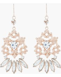 Tom Binns - Rose Gold and White Crystal Roccoco Dumont Earrings - Lyst