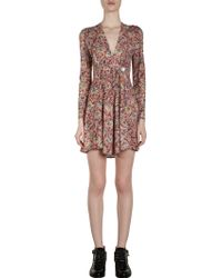 Balenciaga Printed Vneck Dress - Lyst