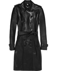 Burberry Ribbed Leather Trench Coat - Lyst