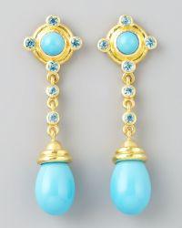 Elizabeth Locke - 19k Gold Turquoise Drop Post Earrings - Lyst