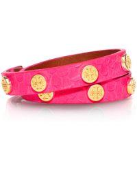Tory Burch Neon Snakeembossed Logo Studded Double Wrap Bracelet - Lyst