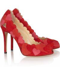 Charlotte Olympia Love Me Heart-Appliquéd Suede Pumps - Lyst