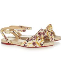 Charlotte Olympia Marina Printed Crepe De Chine Sandals - Lyst