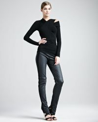 Donna Karan New York Jersey Stripe Leather Pants - Lyst