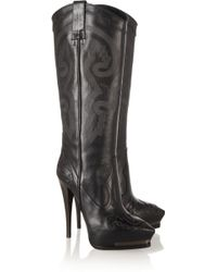 Lanvin Embroidered Leather Cowboy Boots - Lyst