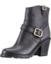 Marc By Marc Jacobs Womens Buckled Bloch-heel Motorcycle Boot Black - Lyst