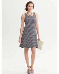 Banana Republic Striped Fit and Flare Dress - Lyst
