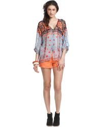 Plenty by Tracy Reese - Printed Tie Neck Silk Blouse - Lyst