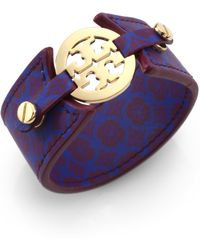 Tory Burch Printed Leather Double-Snap Logo Bracelet - Lyst