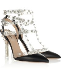 Valentino Studded Leather and Pvc Sandals - Lyst