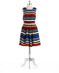 Asos Textured Fit And Flare Dress In Multicolor Multi Lyst