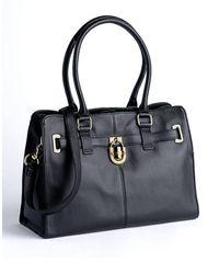 Calvin Klein Leather Satchel Bag black - Lyst