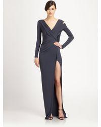 Donna Karan New York Asymmetrical Draped Cutout Satin Jersey Gown - Lyst