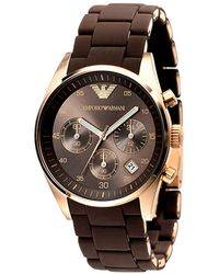 Emporio Armani Ladies Brown Stainless Steel Silicone Chronograph Watch - Lyst