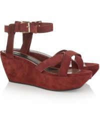 Marni Suede Platform Wedge Sandals - Lyst