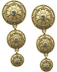 T Tahari - Antique Gold Crystal-embellished Drop Earrings - Lyst