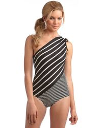 DKNY Striped One Shoulder Swimsuit - Lyst