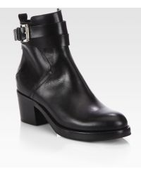 Costume National Leather Buckle Ankle Boots - Lyst