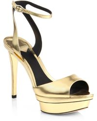 B Brian Atwood Femme Fatale Metallic Leather Platform Sandals - Lyst