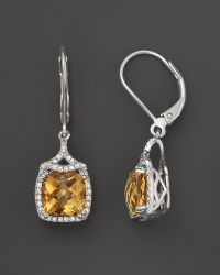 Badgley Mischka - Citrine and Diamond Earrings in Sterling Silver 38 Ct Tw - Lyst