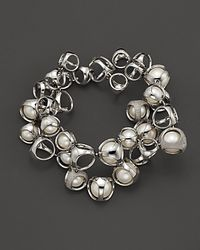 "Di Modolo - Sterling Silver, Freshwater Pearls And Diamonds ""icon"" Bracelet - Lyst"