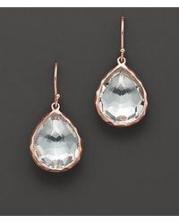 Ippolita Rosé Small Teardrop Earrings With Clear Quartz - Lyst