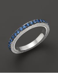 Judith Ripka Sterling Silver Pave Band Ring with Blue Sapphire - Lyst