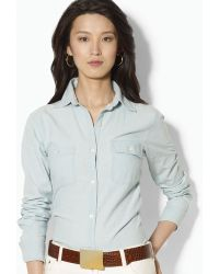 Ralph Lauren Chambray Pocket Shirt - Lyst