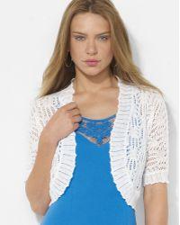 Lauren by Ralph Lauren Pointelle-knit Linen Shrug - Lyst