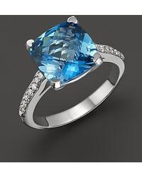 Lisa Nik - 18k White Gold London Blue Topaz and Diamond Ring - Lyst