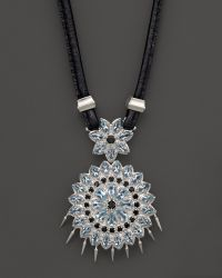 Paul Morelli | Applique Pendant In Blue Topaz And Black Spinel, 16"