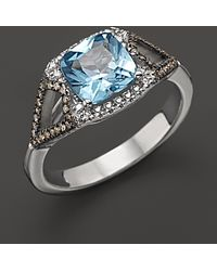 Badgley Mischka | Blue Topaz Ring with White and Brown Diamonds | Lyst