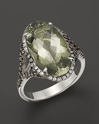 Badgley Mischka | Green Amethyst Cocktail Ring with White and Brown Diamonds | Lyst