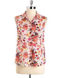 French Connection Hummingbird Print Cotton Shirt - Lyst
