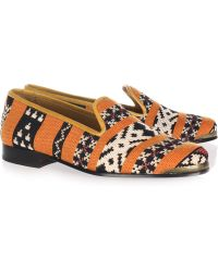 Cobra Society Najet Leather trimmed Tapestry Loafers orange - Lyst