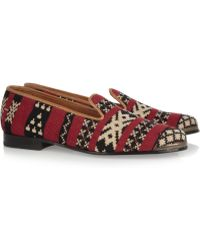 Cobra Society Najet Woven Woolblend and Leather Loafers red - Lyst